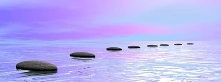 Gris pierres étapes sur l'océan de rose et de bleu ciel nuageux coucher du soleil