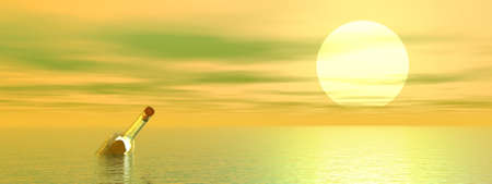 meditation help: Scroll in a transparent bottle floating in the ocean by foggy sunset
