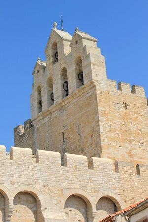 fortified: Belfry of fortified church of Saintes-Maries-de-la-mer, France