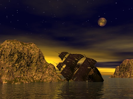 maritime accident: Wreck old boat in the sea by yellow starry night Stock Photo