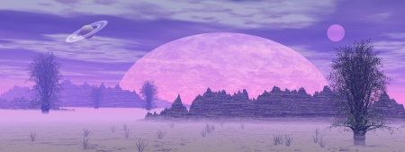 Violet landscape with rock mountains, trees, fog and planets photo