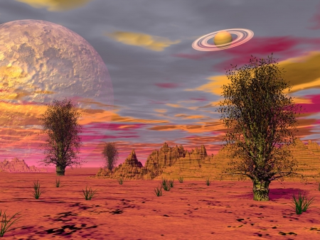 Brown landscape with rock mountains in the desert, trees, fog and planets