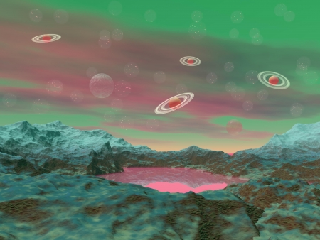 Pink and green landscape with small lake in rock mountains and saturn planets