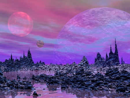 Violet landscape with rock mountains, water and planets photo