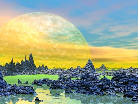 Paisagem amarela com montanhas rochosas, água e planetas