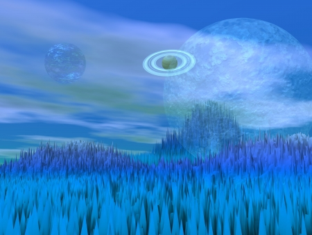 Blue landscape with sharp rocky mountains and planets Stock Photo - 16250617