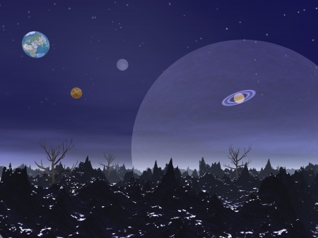 Nightime landscape with sharp rocky mountains, dead trees and planets photo