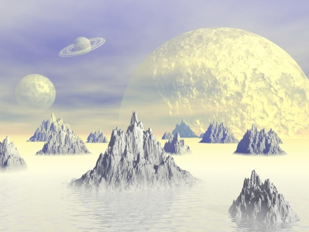 White landscape with rocky mountains, fog and planets
