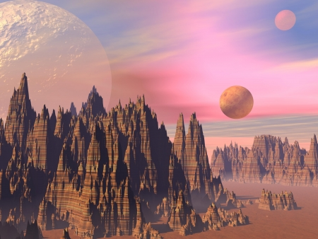 alien planet: Landscape with high sharp rocky mountains and planets