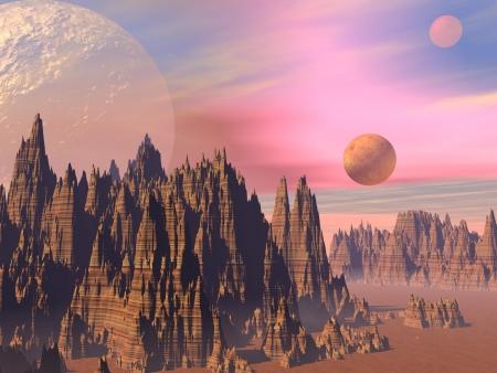Paysage avec des montagnes rocheuses élevées pointus et des planètes