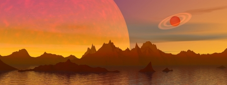 Red landscape with rocky mountains, water and planets Stock Photo - 16250598