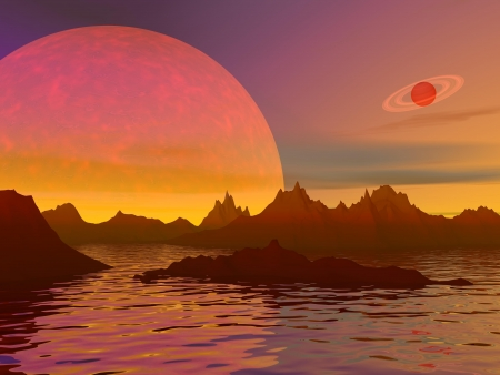 Red landscape with rocky mountains, water and planets Stock Photo - 16250608