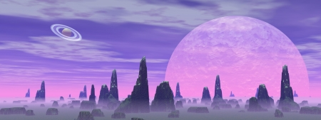 Violet landscape with rock mountains, fog and planets photo
