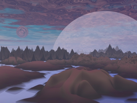 Violet landscape with rock mountains, trees, fog and planets Stock Photo - 16250603