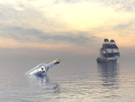 message in a bottle: Message in a bootle and blurry old boat leaving Stock Photo