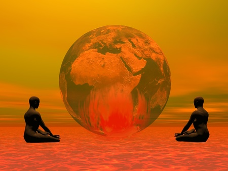Two humans meditating in front of an earth that is burning inside, colorful background photo
