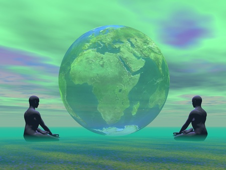 Two humans meditating in front of an earth in green background photo