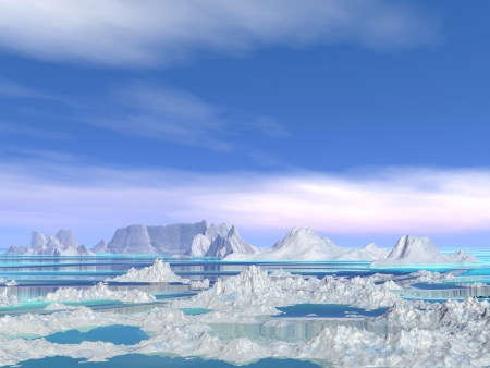 Landscape of poles nature with white small icebergs melting in water by beautiful weather