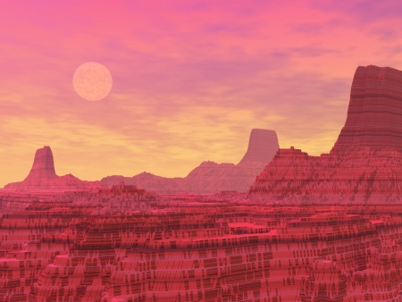 Red landscape with rocky mountains like canyons and planets by sunset Stock Photo - 16250629