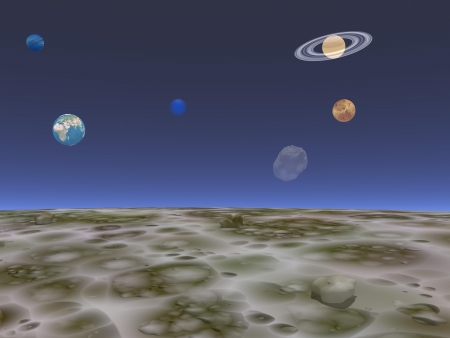 View on the universe and planets from the moon by blue night Stock Photo - 16250597