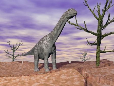monstrosities: Argentinosaurus dinosaur standing on the cracked desert ground next to dead trees by cloudy weather