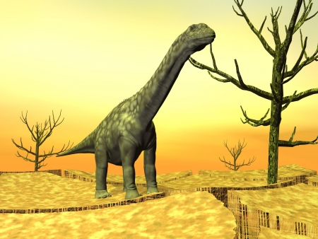 monstrosities: Argentinosaurus dinosaur standing on the cracked desert ground next to dead trees by hot weather