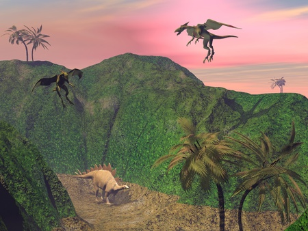 Stegosaurus attacked by tow flying dragons in a wild landscape with palm trees
