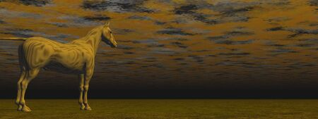 Strange brown horse standing in middle of a cloudy nowhere dark land