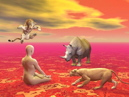 Peaceful man sitting in lotus position in front of agressive wild animals in red background photo