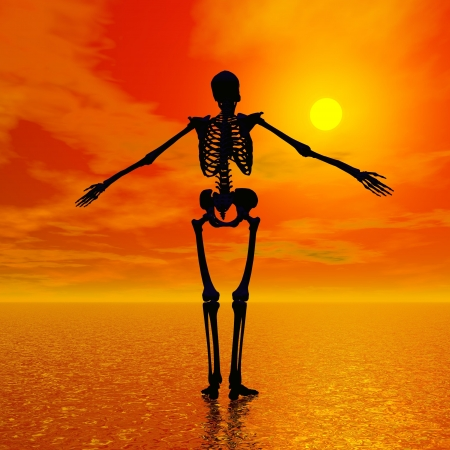 Shadow of a skeleton standing on the water and facing the sun by red sunset photo