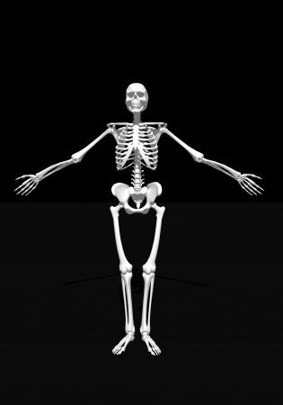 arms wide open: White skeleton arms wide open in black background