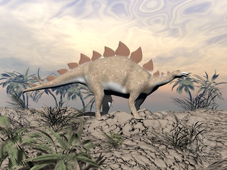 Big stegosaurus dinosaur standing on a hill in the desert next to palm trees and looking at the horizon