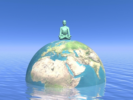 One human peacefully sitting in lotus position upon the earth in water and meditating for it Stock Photo - 16464720