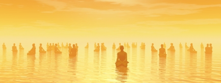 Many human beings meditating together by sunset