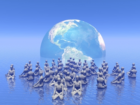 beings: Many human beings meditating for earth