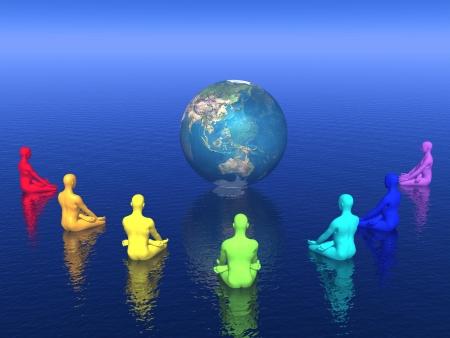 Sept humaine avec des couleurs chakra assis en position de lotus devant de la terre et de la méditation pour elle