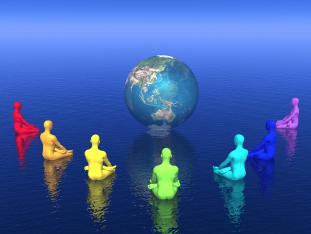 Seven human with chakra colors sitting in lotus position in front of the earth and meditating for it Фото со стока
