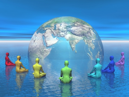 'peace of mind': Seven human with chakra colors sitting in lotus position in front of the earth and meditating for it Stock Photo