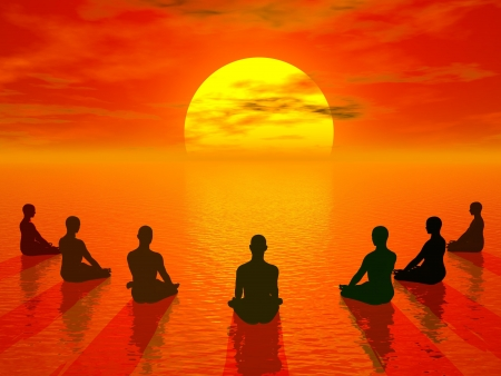 Human sitting in lotus position and meditating in front of the sun by beautiful sunset photo