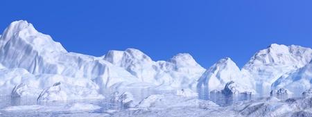 Paysage de nature northen d'icebergs blancs fondant dans l'eau par beau temps Banque d'images