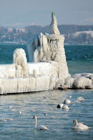 Lighthouse covered with icicles and swan on the lake of Geneva at Nyon, Switzerland photo