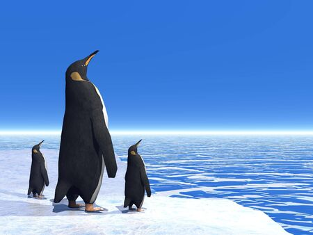 Mother penguin and her two little babies standing on an iceberg and looking far away on the ocean photo
