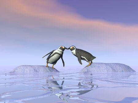 Two penguins standing on separate iceberg and trying to kiss each other upon the water Stock Photo - 16464663