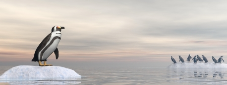 One penguin standing alone on a small iceberg and looking at all the others far away on another big iceberg Stock Photo