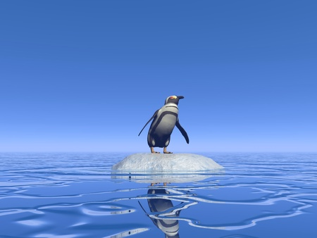 One penguin standing alone on a small iceberg lost in the middle of the ocean Stock Photo - 16464662