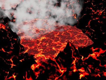 Gros plan sur le coeur d'un volcan actif et peu de fumée