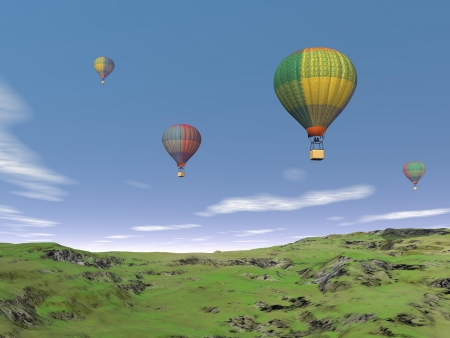 Several colorful balloons flying in the blue sky upon green grassland photo