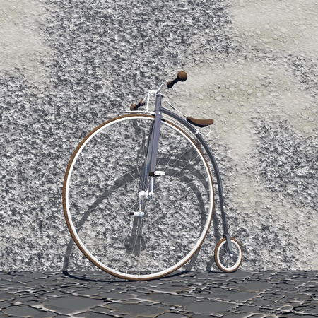 Beautiful old grey bicycle with big front wheel and small back one against a wall in the street photo