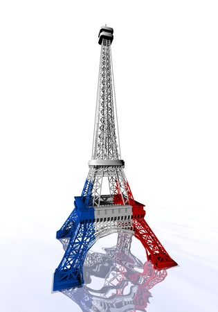 european culture: French flag colors on Eiffel tower in white background - 3D render Stock Photo
