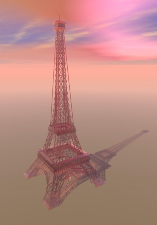 Eiffel tower made of pink transparent glass in sunset background photo